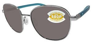 Costa Del Mar Egret Brushed Silver Frame Gray 580 Plastic Polarized Lens