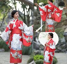 Red Japanese Kimonos New Yukata Cosplay Geisha Retro Dress Costume With Obi
