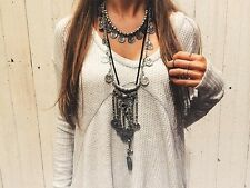 New Free People Black Stone Boho Tassel Coin Necklace
