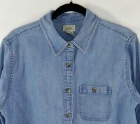 LL Bean Women's Faded Blue Denim Cotton Long Sleeve Shirt Blouse Size M-Reg