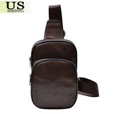 Men Chest Bag Leather Cross Body Shoulder Cycle Sling Bag Satchel Backpack Purse