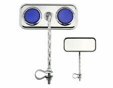 Chrome Round Twisted Mirrors with Blue Reflector Set of 2 Lowrider Bike, Parts
