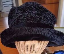 Laura Ashley Vintage Slouchy Black Textured Velvet Faux fur hat, made in England