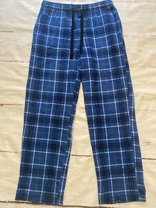 Men's Fleece Winter Lounge Pajama Pants Size M Blue Plaid Croft & Barrow Pockets