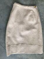 Vintage Beige Boiled Wool Straight Pencil Knee Length Skirt Size Medium / Large