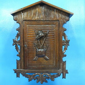 Antique Swiss WALL CABINET Apothecary Black Forest Carved Hunt Gun Horn Brienz
