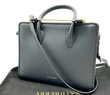 AUTH NWT $750 Strathberry Midi Calf Leather Convertible Tote Crossbody In Black
