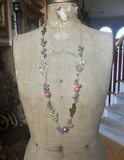 Alexis Bittar Long Gold Nugget Station Pendant Necklace - Coral and Black Pearl