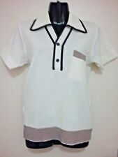 SIZE S  - SIZE M / SIZE 36 MEN'S OFF WHITE SHORT SLEEVE BIG COLLAR VINTAGE SHIRT