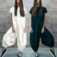 Women O-Neckline Solid Romper Short Sleeve Casual Zipper Loose Jumpsuits L