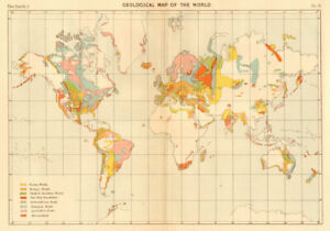 Geological Map of the World 1886 old antique vintage plan chart