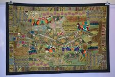 INDIAN WALL HANGING EMBROIDERED Tapestry PATCHWORK BOHO Ethnic LARGE