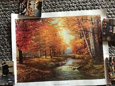 Autumn Leaves By Robert Wood Litho In U.S.A. Donald Art Co. On Fabric