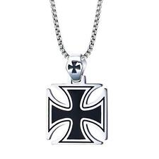 "Mens Stainless Steel Pendant Necklace Large Iron Cross Rolo Link Chain 24"" Black"