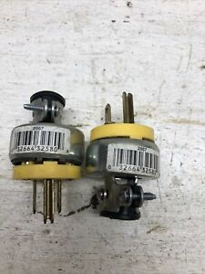 Eagle Wiring 2867 Grounded Armored Plug 3-Wire 15A 125V Yellow Set Of 2