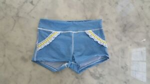 NWT $40 California Kisses dance wear light denim shorts girl size L