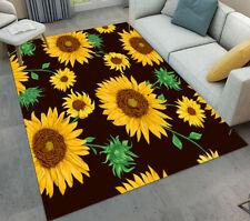 Black Background Summer Sunflower Floral Area Rugs Bedroom Living Room Floor Mat