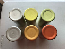 "6 - vintage Perma Hues Aluminum Tumblers 5-3/8"" tall 2-3/8"" Opening Colors used"