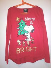Peanuts Girls Size L (10-12) Red Snoopy Long Sleeve Christmas Merry Bright Tee