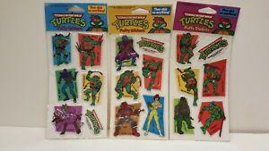 3-Vintage Retro 1988 Teenage Mutant Ninja Turtles Puffy Stickers New In Package