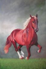 ZOPT68 hand painted red horse White shoes on grass OIL PAINTING art ON CANVAS
