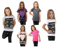 Boys Camouflage Girls Short Sleeved Print T Shirt Kids Tops  Ages 5-12 top vest