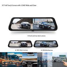 "Mirror Car Dash Cam Dual Dash Cam 10""Full HD Touch Screen Backup Camera1296P WDR"
