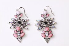 LOVELY SPARKLING PINK FLOWER GREY RHINESTONE DROP EARRINGS PARTY STYLISH (CL22)