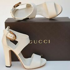 GUCCI New sz 38.5  8.5 Auth Designer Bamboo Womens Sandals Heels Shoes off white