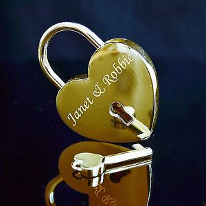 Gold Padlock, Engraved Love Lock Heart Christmas Gift