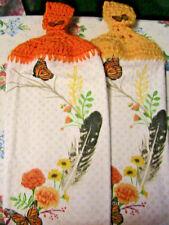 MONARCH BUTTERFLIES~FEATHERS~FLOWERS Lot of 2 CROCHET TOP KITCHEN~HAND TOWELS