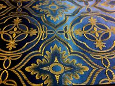 Liturgical Cross Design Fabric For Stole Gold on Blue Satin Fabric 1 Pc.