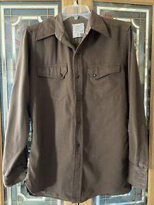 Vintage H Bar C California Ranchwear Brown Wool Western Shirt Button Long Sleeve