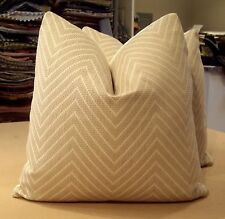 "GROUNDWORKS LEE JOFA KELLY WEARSTLER BEIGE ""FUJI MODERNE""  CUSTOM PILLOWS"