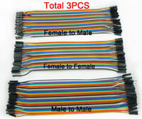 3X 40pcs 20cm Male To Male/Female Dupont Wire Jumper Cable Arduino Breadboard