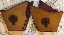 Antique 1800s WONDERFUL MASONIC KNIGHTS TEMPLAR LEATHER GAUNTLETS