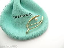 Tiffany & Co 14K Yellow Gold Pearl Wishbone Wish Bone Brooch Pin Rare Excellent!