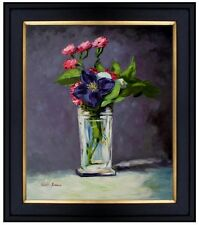 Framed, Manet Carnations and Clematis Repro, Hand Painted Oil Painting 20x24in