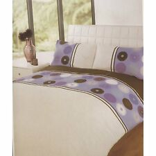 Nueva Cama individual cubierta del edredón Set Polka Pana Morada Blanco toque suave de fácil cuidado