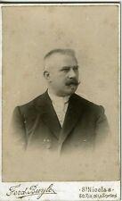CDV photo BUYLE St Nicolas Belgique portrait homme de trois-quart circa 1900