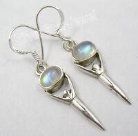 "925 Silver RAINBOW MOONSTONE GODDESS Earrings 1.5"" New"