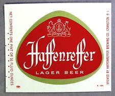 Haffenreffer Brewing Co HAFFENREFFER LAGER BEER paper label Cranston RI 16oz
