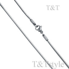 T&T 1.5mm Stainless Steel Snake Square Chain Necklace Silver (C157)