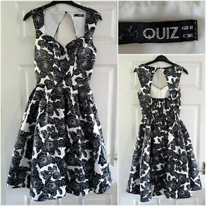 Quiz Black and White Dress Size 8 Fit & Flare Satin Floral Party Prom Evening