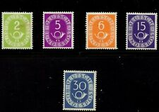 Germany 1951 Posthorn Lot 5 Stamps Vf/Xf Mnh Hi Cat