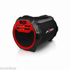 "Axess Red Portable Indoor Outdoor Bluetooth Cylinder 2.1 Speaker 6"" Subwoofer"