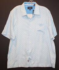 Nat Nast Mens Blue Geo Shapes Silk Blend S/S Button-Front Shirt NWT $155 Size L