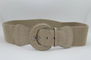 Women Casual Day Elastic Band Belt Beige Nude Color Faux Leather Day Wear XS S M