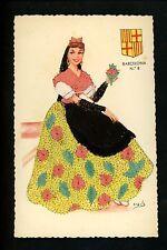 Embroidered clothing postcard Artist Iraula, Spain Barcelona woman #8 (2)