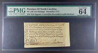 1771 North Carolina 10s Colonial Note, NC-138, PMG ChU-64 EPQ.